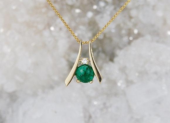 Cabachon Emerald with Diamond Pendant