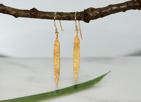 Bamboo Leaf Earring with Lab Diamonds
