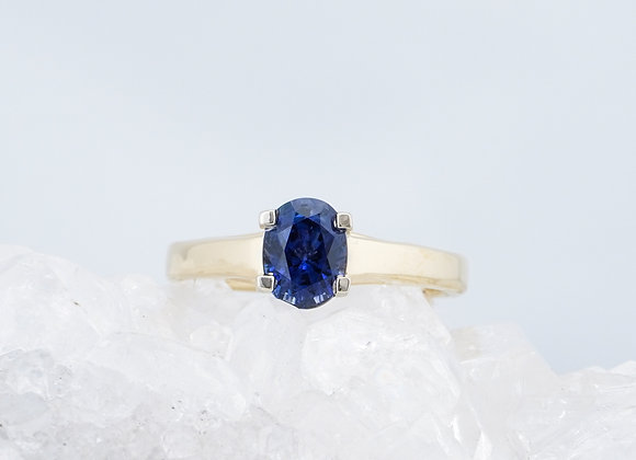 Oval Blue Sapphire Two-Tone Ring