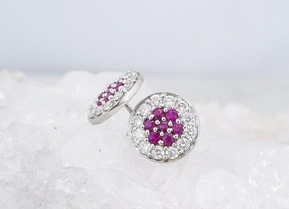 Ruby and Diamond Pave Studs
