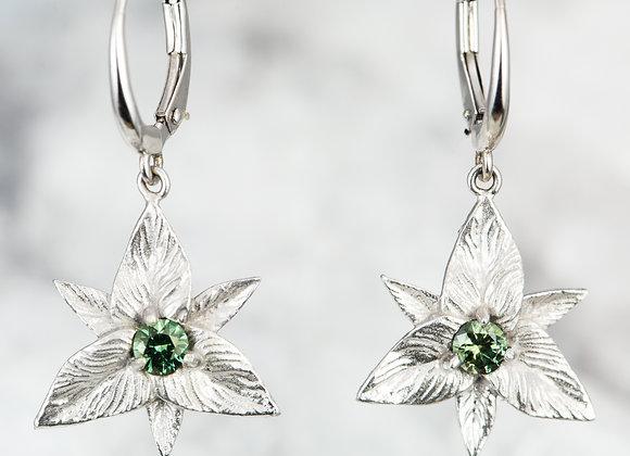 Green Sapphire Trillium Dangles