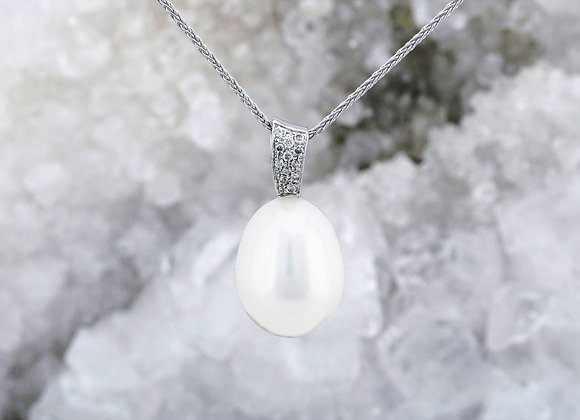 Pearl Drop Pendant with Diamond Pavé Bail