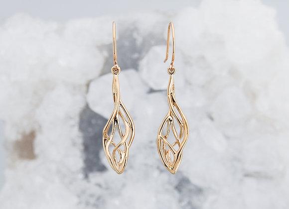 Rose Gold Organic Twist Drop Earrings