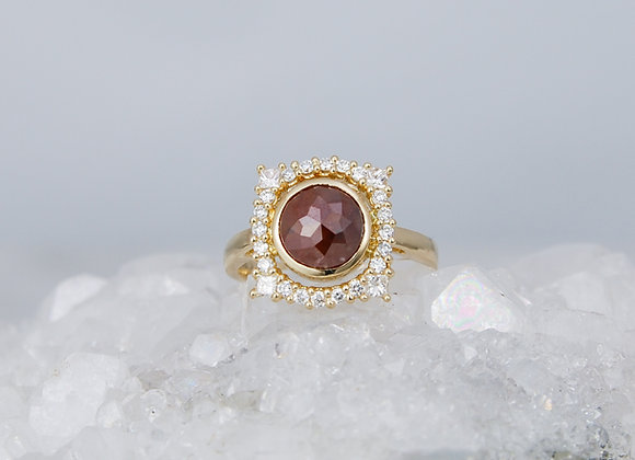 Rosecut Diamond with Diamond Halo Ring