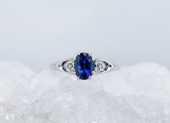 Oval Blue Sapphire Ring with Lab Diamonds