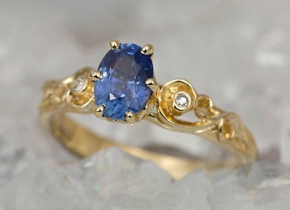 Blue Sapphire and Scrollwork