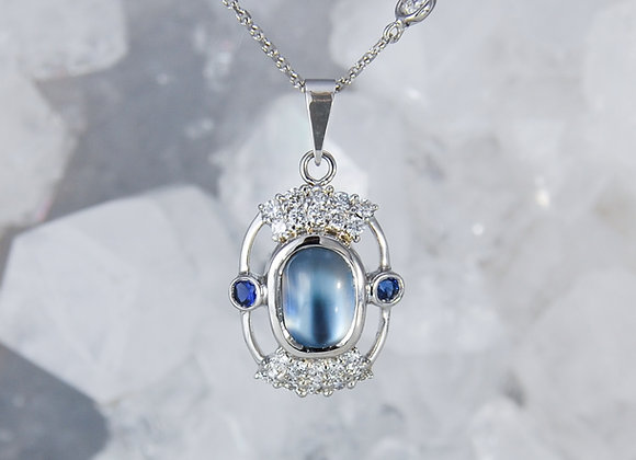 Silver Moonstone, Diamond and Blue Sapphire Pendant