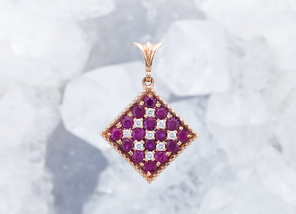 Square Pavé Ruby and Diamond Pendant
