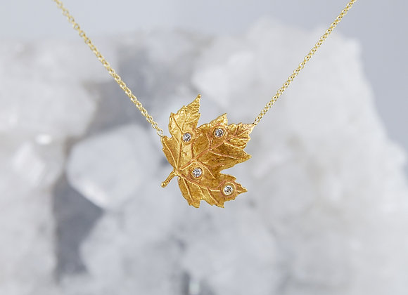 Maple Leaf with Diamonds Necklace