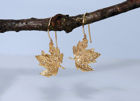 Maple Leaf Earring Pair with Lab Diamonds