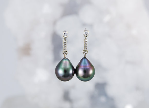 Tahitian Pearl Drops with Diamond Bar