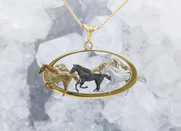 Three Sisters Running Horse Pendant