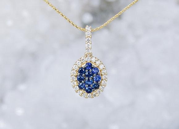 Pavé Set Sapphires and Diamond Pendant
