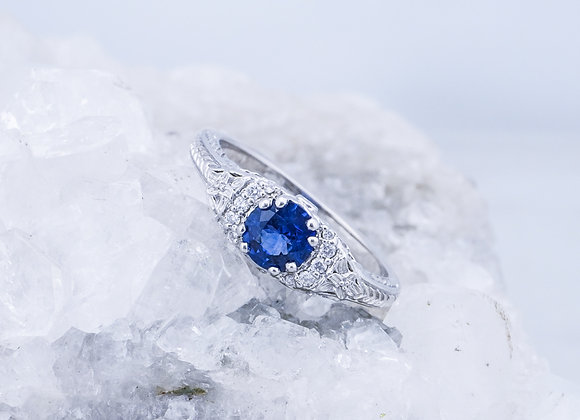 Vintage Scroll with Blue Sapphire and Diamonds