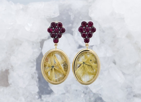Ruby and Yellow Rutilated Quartz Earrings