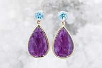 Zircon and ruby earrings