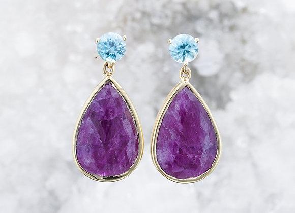 Zircon and Ruby Drop Earrings