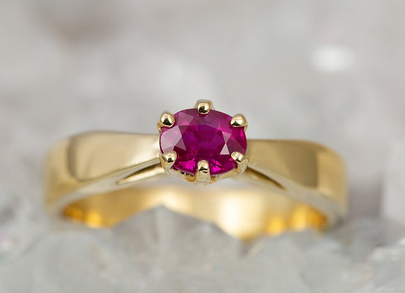 Woven Basket Solitaire with Ruby