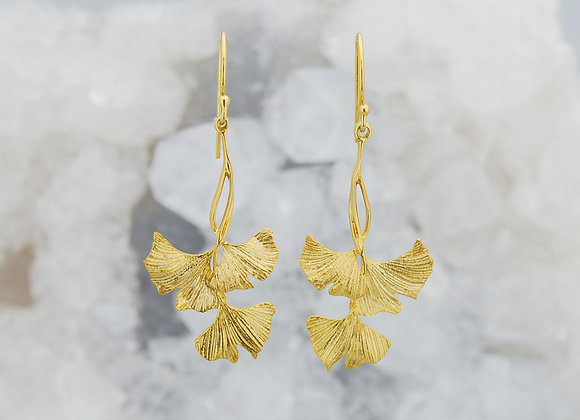 Ginkgo Trio Drop Earrings