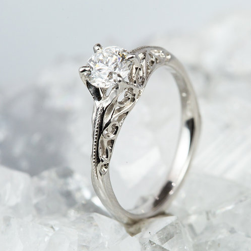 Solitaire Scroll-Work Ring