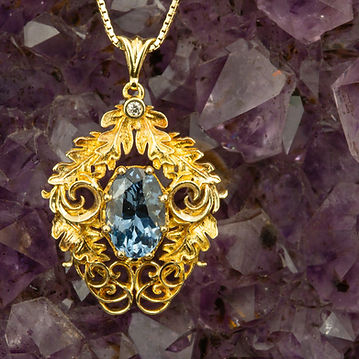 Blue Spinel and Oak Leaf Pendant