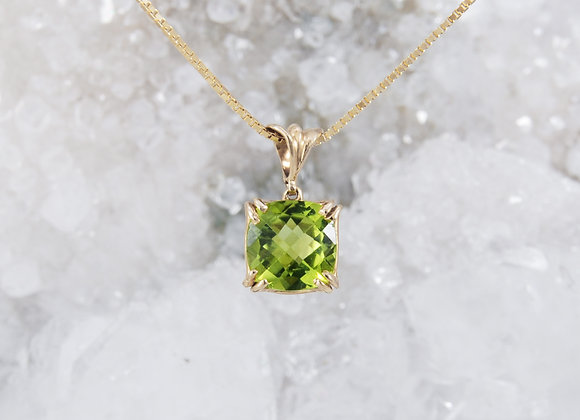 Checkerboard-Cut Peridot Pendant