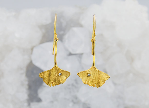 Ginkgo Drop Earrings with Diamond Accent