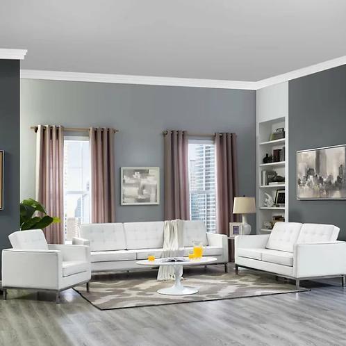 Gayatri 3 Piece Leather Living Room Set