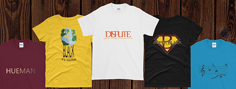 Yellow, white and black t-shirts  with different designs on them.