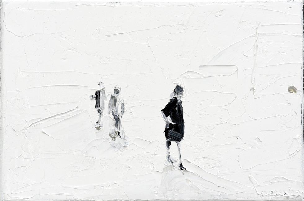 Leszek Skurski - Coat - 20x30 cm - Oil o