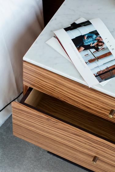 Ivar Fiennes Bedside Table Drawers Marble