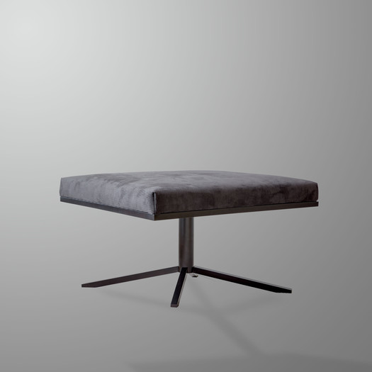 Ivar David Footstool Grey Alcantara Fabric