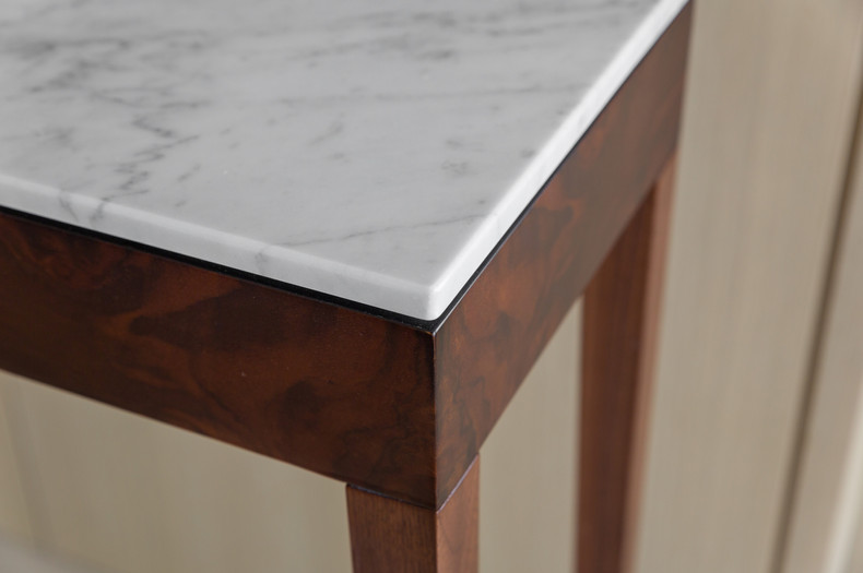 Pelham Console Table Burr Walnut Marble