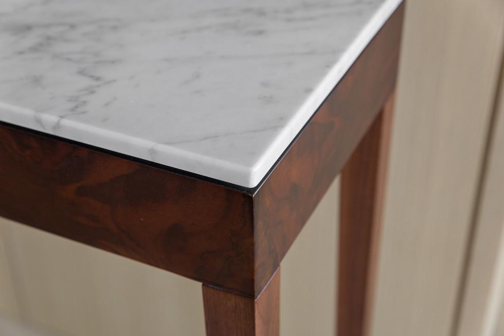 Pelham Console Table Burr Walnut Marble