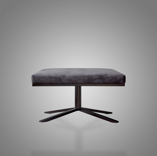 Ivar David Footstool Grey Alcantara Metal