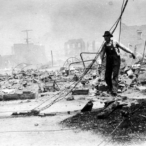 Tulsa's Greenwood District in 1921 after a white mob razed the predominately Black community.