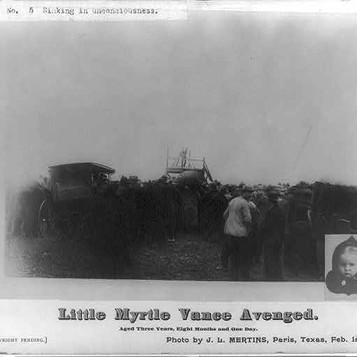 View of the lynching by slow burning of a Negro for the murder of a 3-year old girl