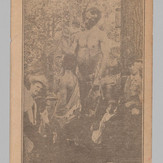 Postcard of the bodies of Nease Gillespie, John Gillespie and Jack Dillingham