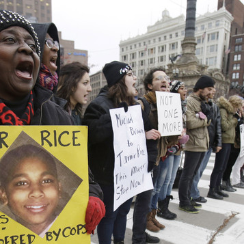 Demonstrators block Public Square in Cleveland on November 25, 2014, during a protest over the police shooting of 12-year-old Tamir Rice