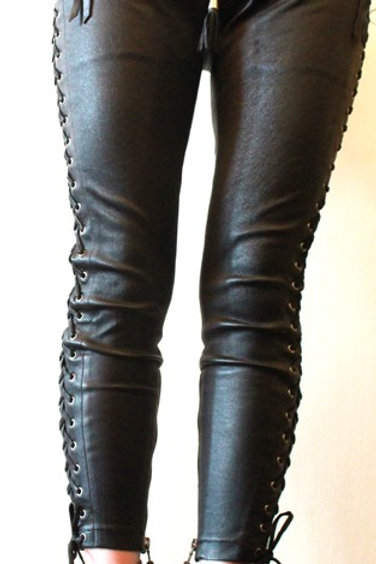 TYJC STRIPPED LEATHER TROUSERS