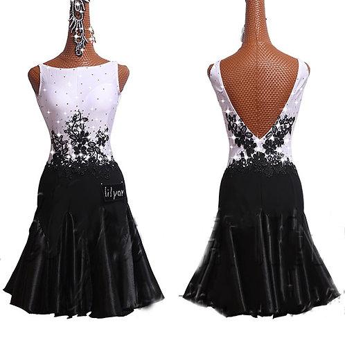 Latin Dance Dress for Women White vs Black Sleeveless  Party Host