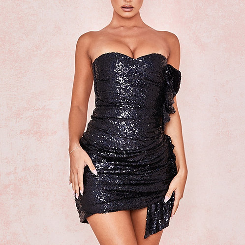 New Celebrity Evening Party Sequined Sleeveless Strapless Bodycon Dress