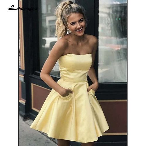 Cute Yellow Satin Short Dress