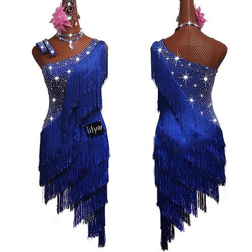 Rhinestone Dress Blue Tassels Dress