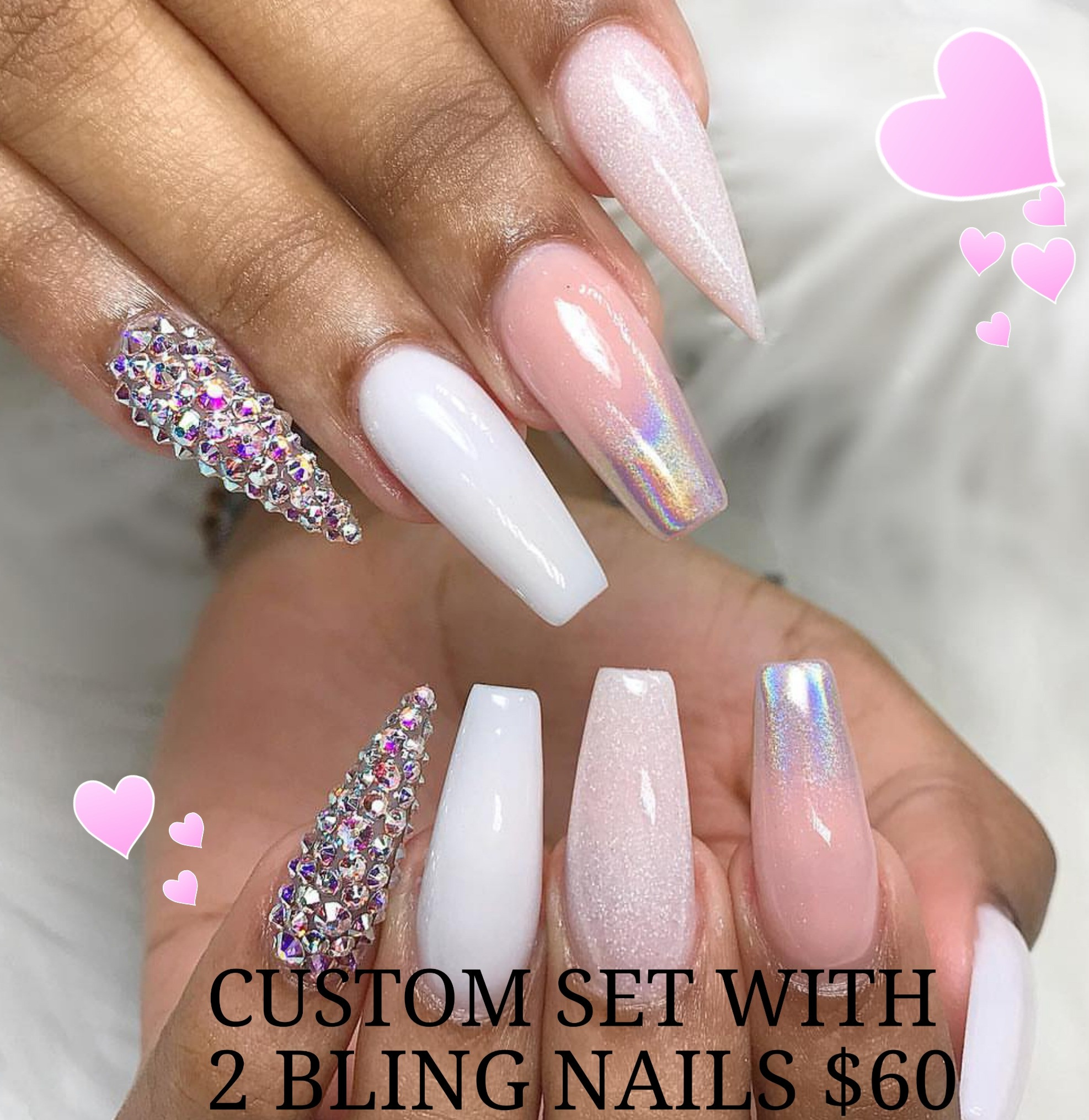 Custom set/fill 2 bling nails/pedi $100+
