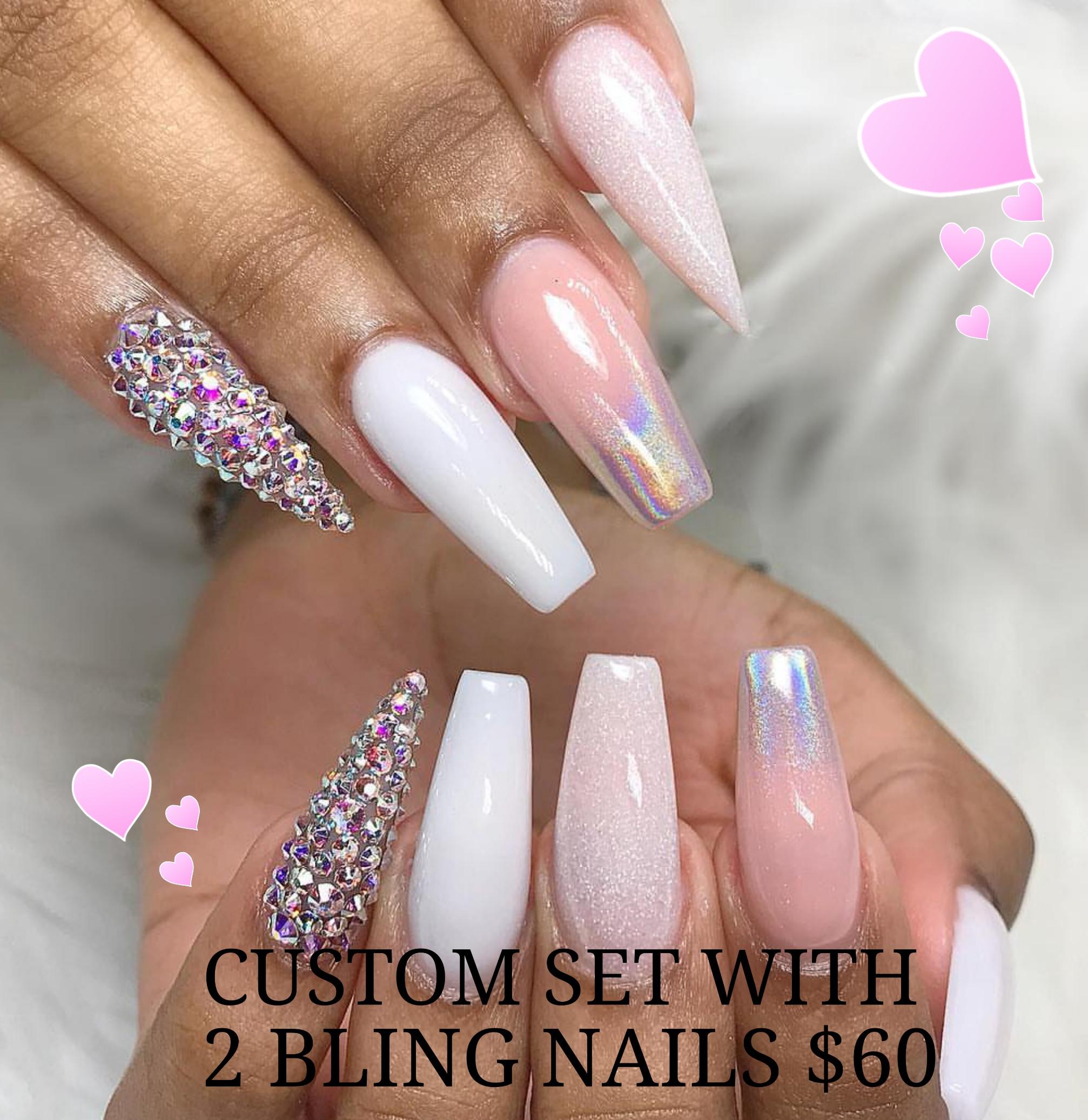 Custom set or fill-in 2 bling nails $70+