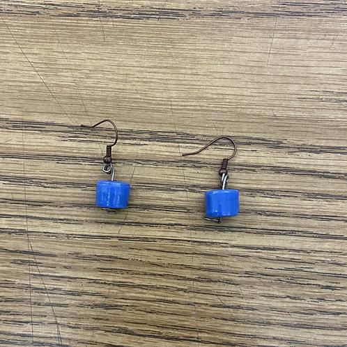 Blue Barrel Earrings