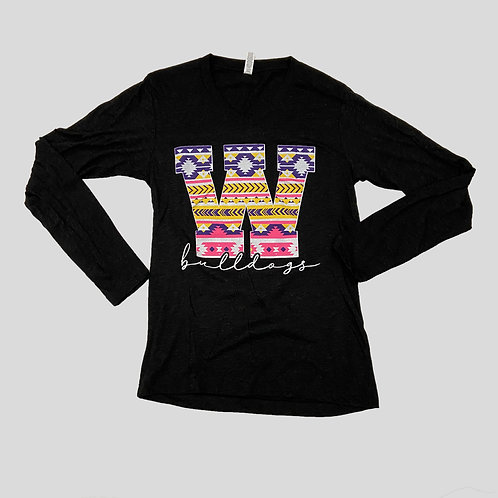Black Aztec Long Sleeve Tee