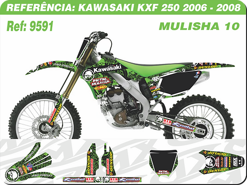 Adesivos Kawasaki Kxf 250 2006 - 2008 _ Mulisha 10