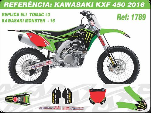 Adesivos Kawasaki Kxf 450 Replica Eli Tomac #3, Kawasaki Monster -16 2016